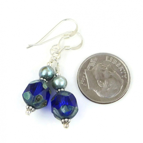 Unique cobalt blue earrings for her.
