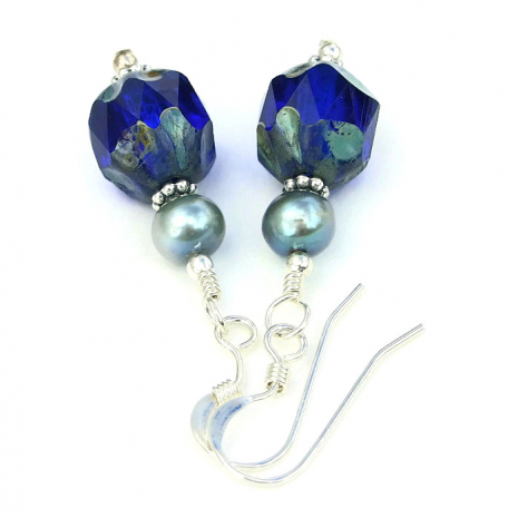 Cobalt blue and mint green earrings.