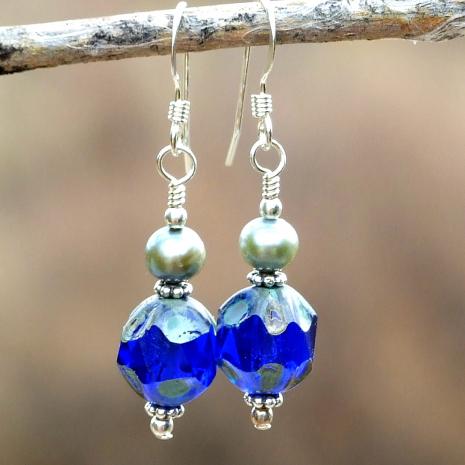 Blue earrings for women.