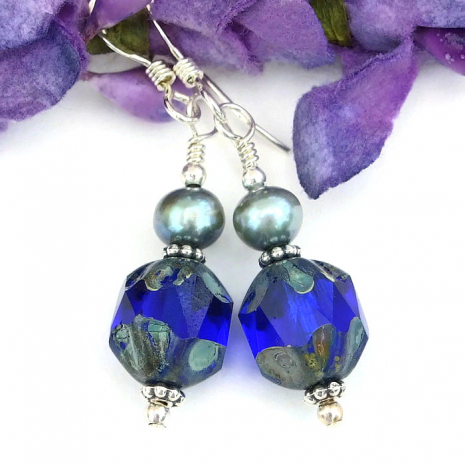 Cobalt blue earrings.