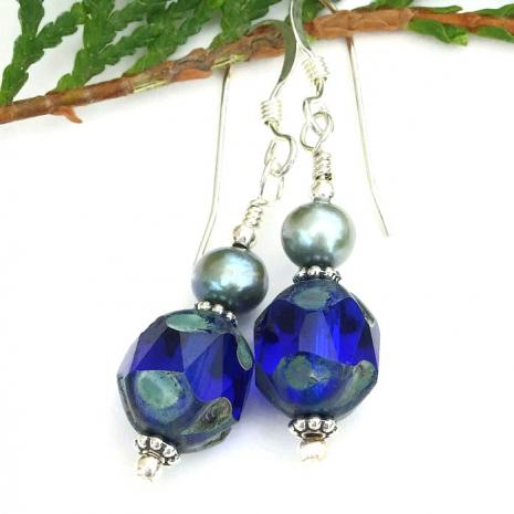 Cobalt blue jewelry for women.