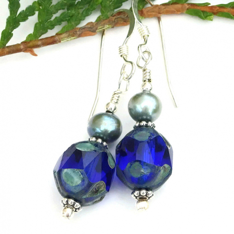 Cobalt blue jewelry for women.