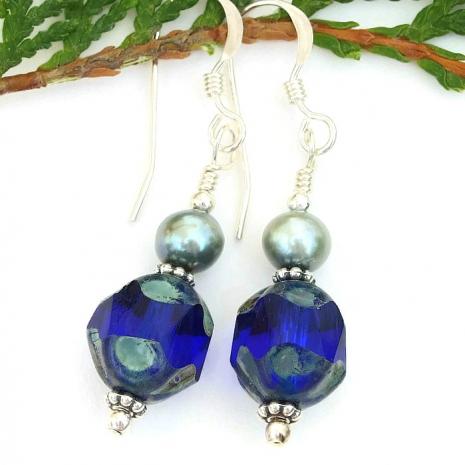 Glowing cobalt blue earrings for women.