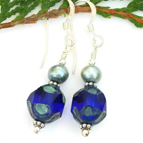 Glowing cobalt blue earrings for women.