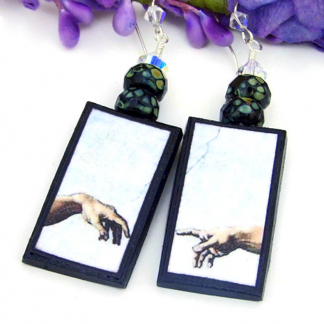 creation of adam polymer clay earrings michelangelo painting