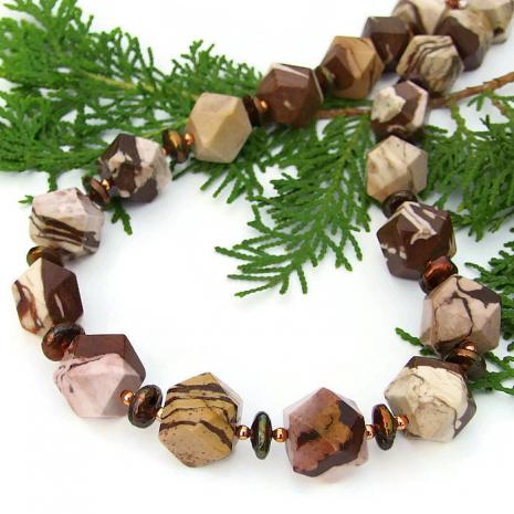 Brown zebra jasper gemstone necklace for her.