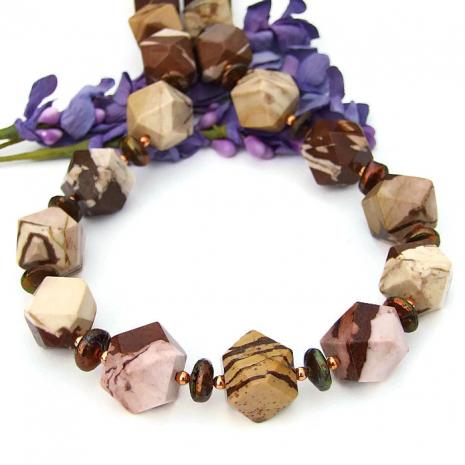 Chunky gemstone necklace.
