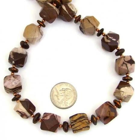 Artisan handmade gemstone necklace - jasper and pearls.