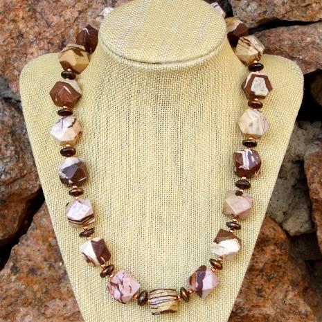 Brown zebra jasper and pearls statement necklace.