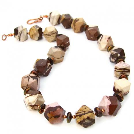 Brown zebra jasper handmade necklace.