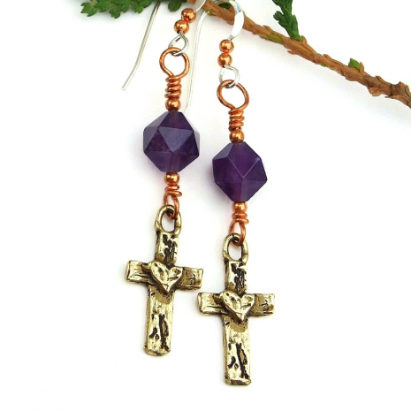 cross and hearts earrings with purple amethyst gemstones