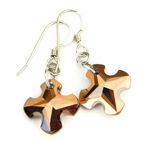 cross earrings swarovski crystal gift for women
