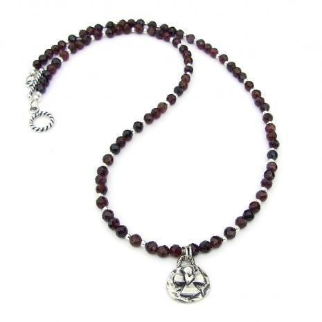 cross heart garnet necklace gift for women