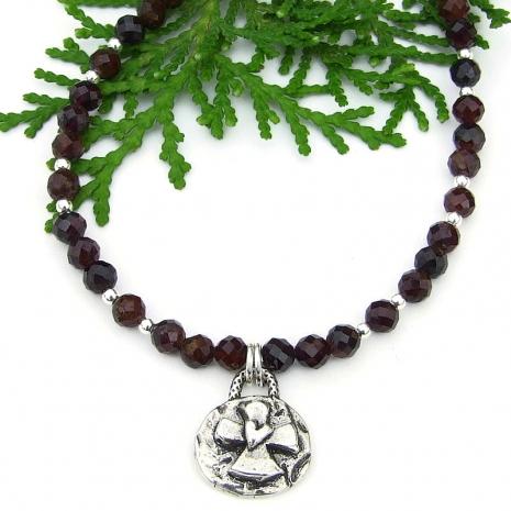 cross heart handmade jewelry faceted red garnet gemstones