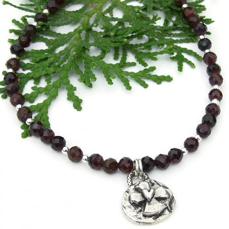 cross heart handmade necklace faceted red garnet gemstones
