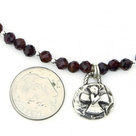 cross heart pendant red garnet jewelry gift for her