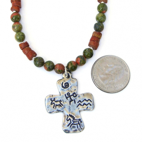 cross jewelry gift for her with petroglyphs