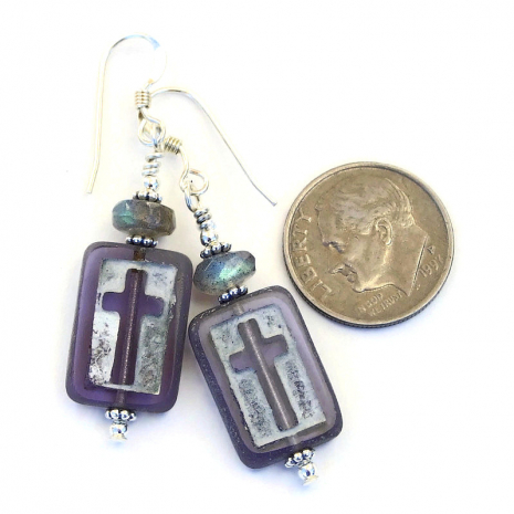 cross jewelry with labradorite gemstones