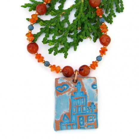 crosses on church handmade jewelry orange carnelian turquoise czech glass
