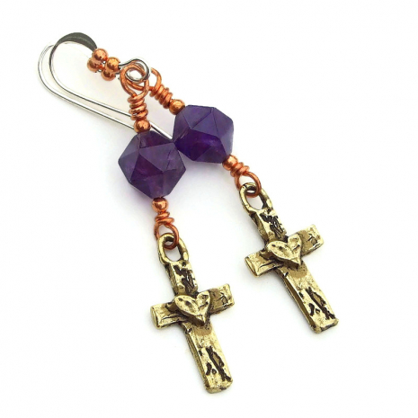 crosses with hearts earrings gift for her
