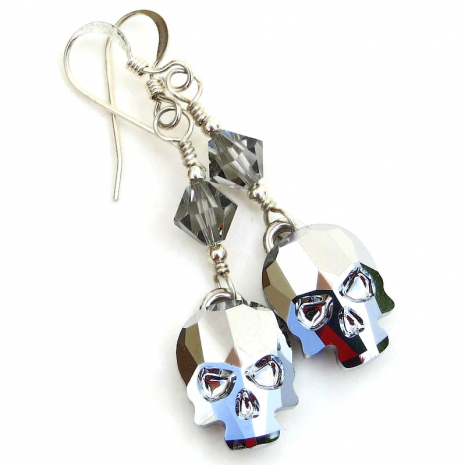 crystal light chrome swarovski skull earrings