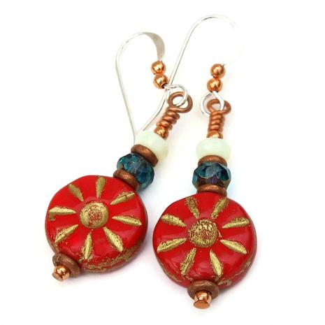 Czech glass red flower earrings