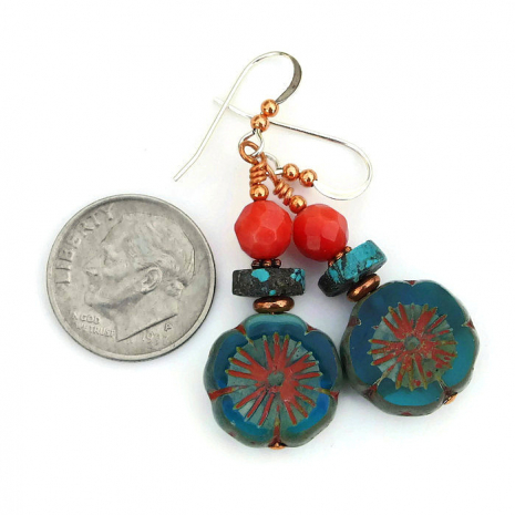 aqua flower turquoise and red coral jewelry