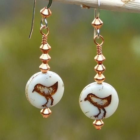 czech glass bird jewelry with copper