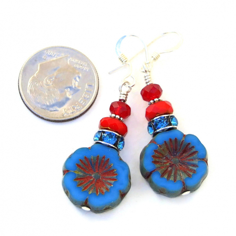 czech glass blue and red flower pansy earrings gift for her