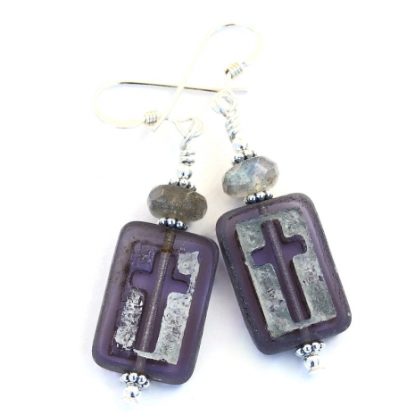 czech glass cross labradorite handmade jewelry