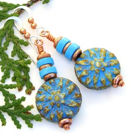 czech glass dahlia flower jewelry with turquoise magnesite