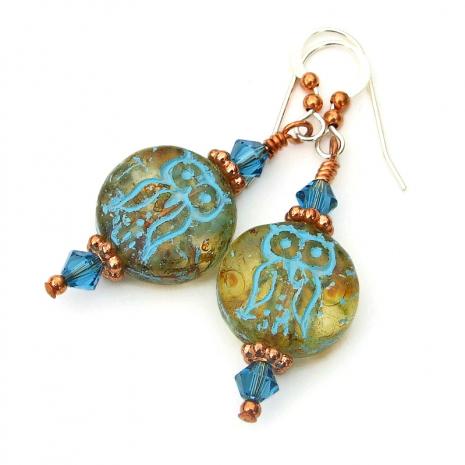 czech glass owl earrings gift for her