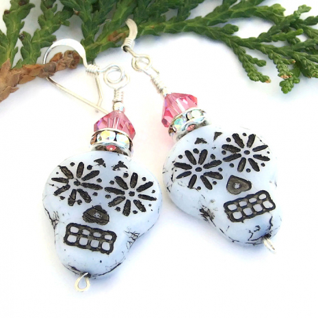 czech glass skull jewelry with pink swarovski crystals for Day of the Dead