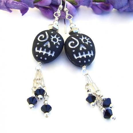 czech glass voodoo skull and swarovski jewelry for Halloween