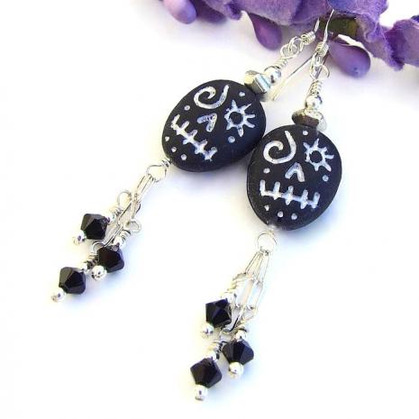 czech glass voodoo skull and swarovski earrings for Halloween