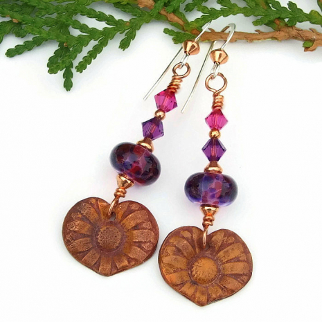 unique flower earrings gift for women