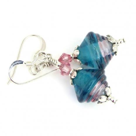 glowing teal and pink lampwork glass earrings