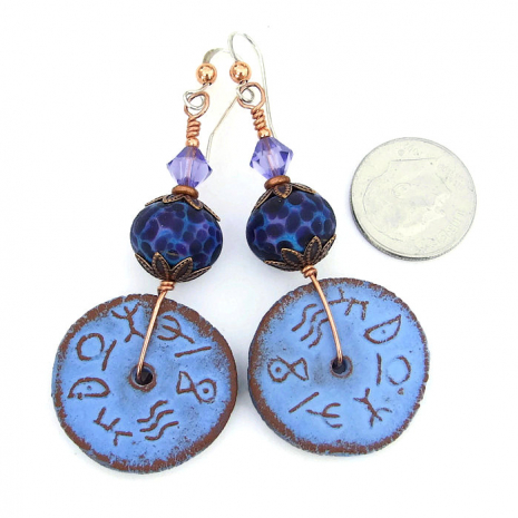 one of a kind ceramic runes and lampwork earrings
