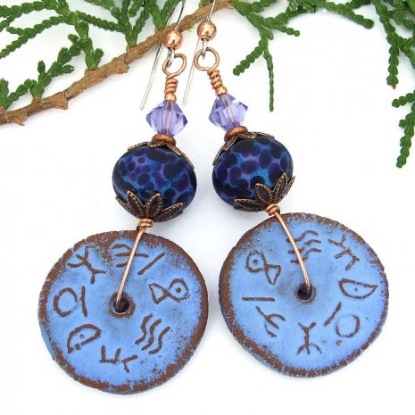 Rustic runes earrings.