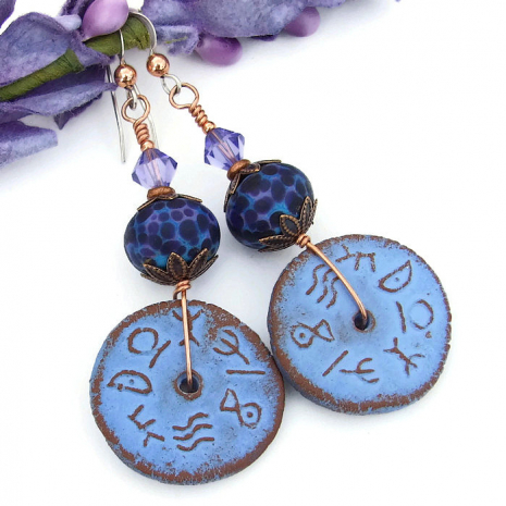 Rustic powder blue runes and purple lampwork earrings.