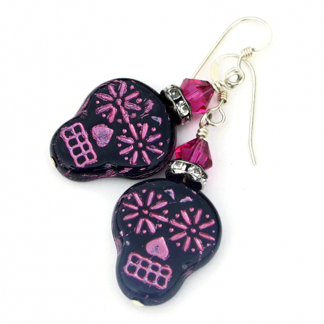 day of the dead black and pink sugar skull earrings gift for her