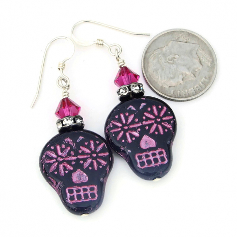 day of the dead black and pink sugar skull jewelry gift for her