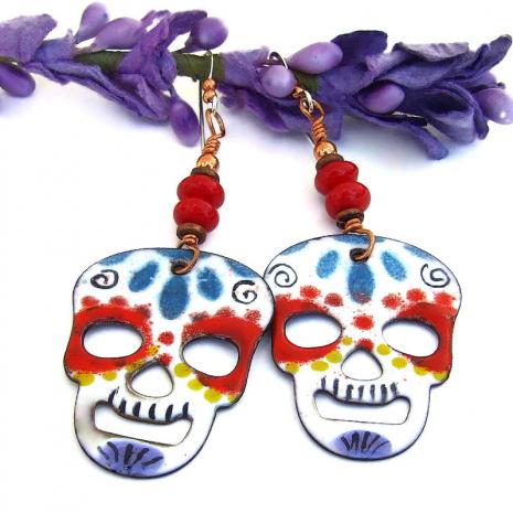 day of the dead dias de los muertos skull earrings