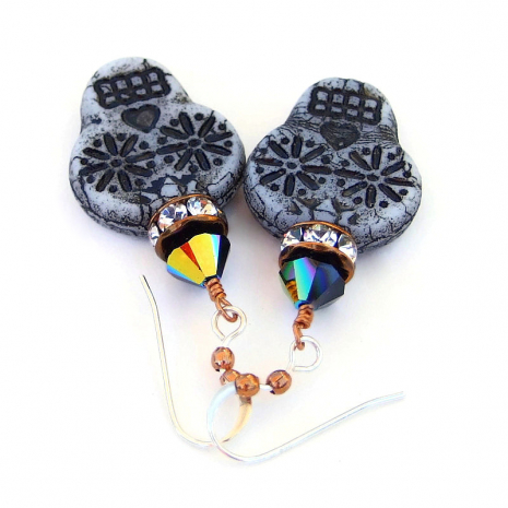day of the dead skull jewelry halloween