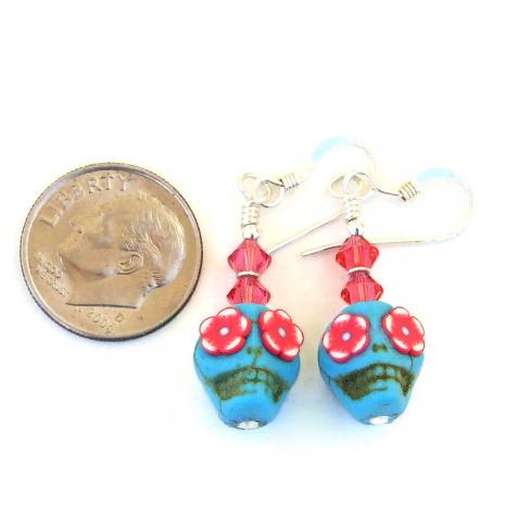 day of the dead sugar skull handmade earrings gift for her