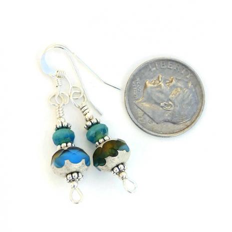 Handmade turquoise and amber earrings.