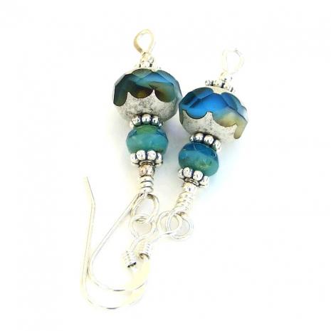 Aqua blue earrings.
