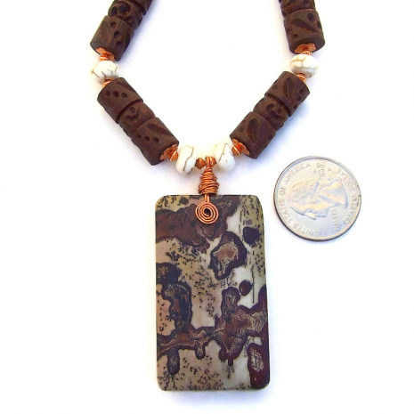 dendritic picture jasper pendant jewelry gift for her