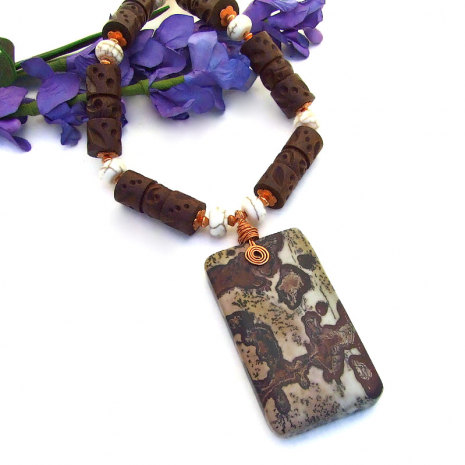 dendritic picture jasper pendant necklace gift for her