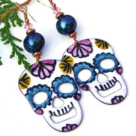 day of the dead sugar skulls jewelry halloween gift for her